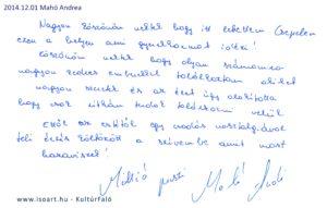 2014-12-01 Mahó Andrea bejegyzése a KultúrFaló vendégkönyvébe