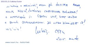 2015-01-21 Csákányi Eszter bejegyzése a KultúrFaló vendégkönyvébe
