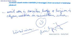 2015-04-22 Nádas György bejegyzése a KultúrFaló vendégkönyvébe