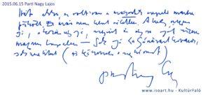 2015-06-15 Parti Nagy Lajos bejegyzése a KultúrFaló vendégkönyvébe