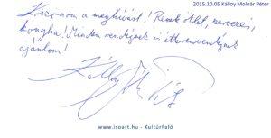 2015-10-05 Kálloy Molnár Péter bejegyzése a KultúrFaló vendégkönyvébe