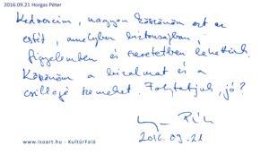 Horgas Péter bejegyzése a KultúrFaló vendégkönyvébe 2016. szeptember 21.