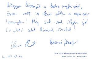 2016-11-29 Hámori József és Hámori Máté bejegyzése a KultúrFaló vendégkönyvébe