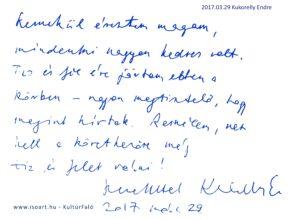 Kukorelly Endre bejegyzése a KultúrFaló vendégkönyvébe 2017. március 29.