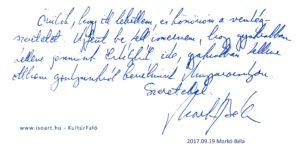 Markó Béla bejegyzése a KultúrFaló vendégkönyvébe 2017. szeptember 19