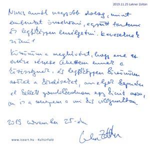 Lakner Zoltán bejegyzése a KultúrFaló vendégkönyvébe 2019. november 25.