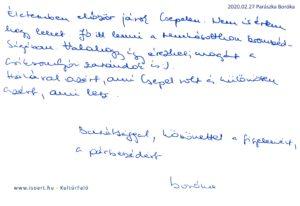 Parászka Boróka bejegyzése a KultúrFaló vendégkönyvébe 2020. február 27.